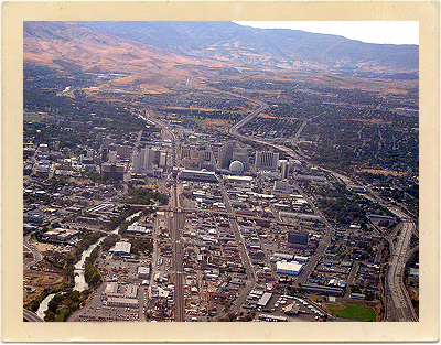 Modern-day Reno, Nevada, as seen from above.Modern-day Reno, Nevada ...